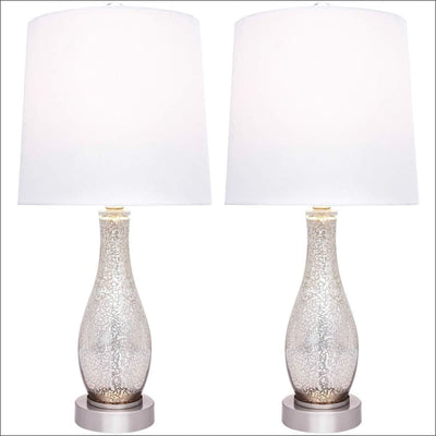 Set of 2 Sand Nickel Glass Table Lamp