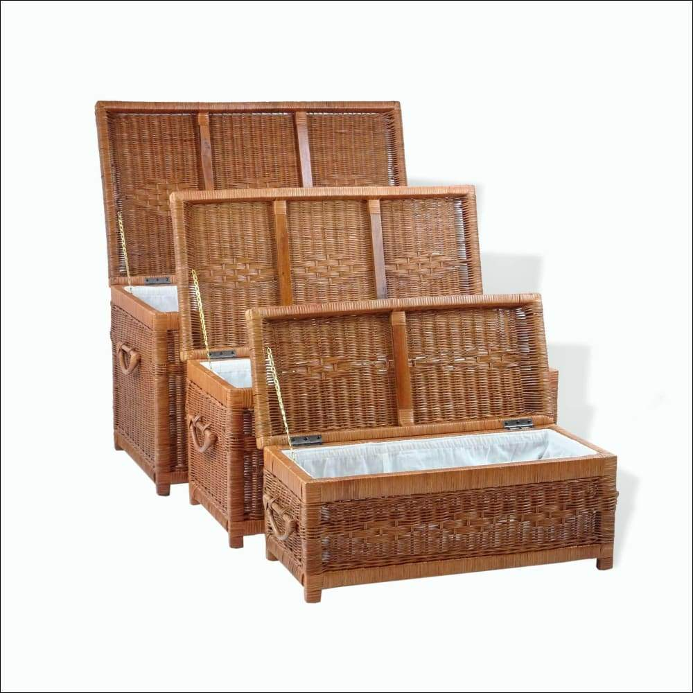 Set of 3 Natural Rattan Wicker Storage Baskets