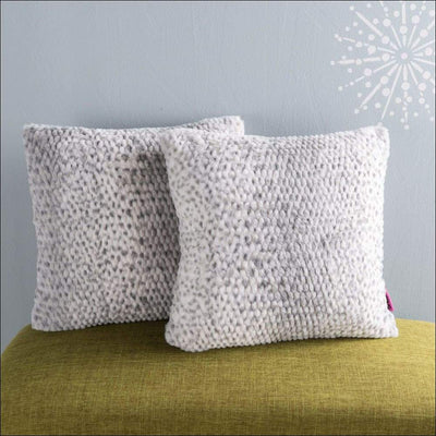 Silver Dusk Faux Fur Throw Pillow