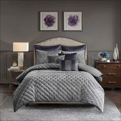 Silver Gray Velvet Embroidered 9PC Bedding Set