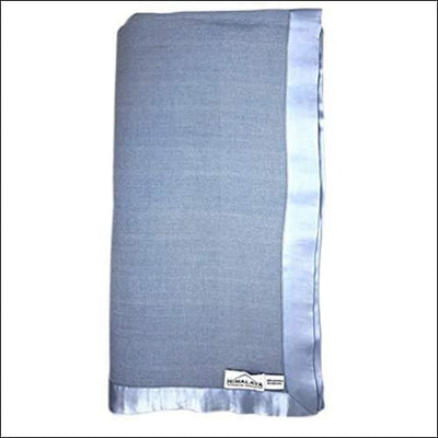 Sky Blue Cashmere Silk Satin Throw Blanket - 90 x Inches
