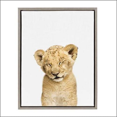 Sleepy Baby Lion Framed Canvas Wall Art - 1.6 x 18 24 Inches