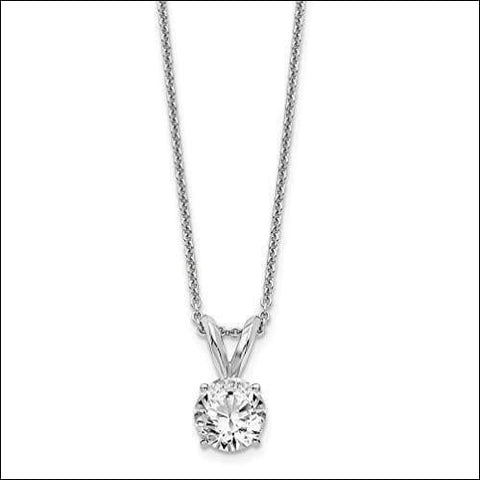 Solitaire 14K White & Gold Round Diamond Necklace - novariancreations.com