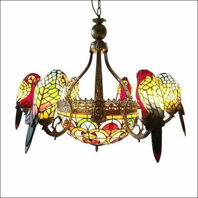 Stained Glass Crystal Parrot Pendant Ceiling Lamp