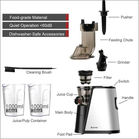 Stainless Steel Chute Masticating Juicer - Home Electronics