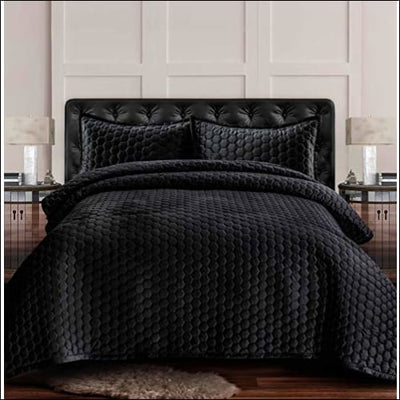 Steel Gray Honeycomb Velvet 3PC Quilt Set