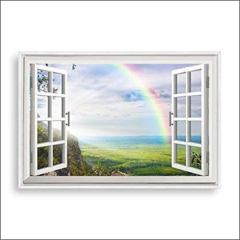 Sunny Day Window Framed Canvas Painting - Canvas Paintings Under $100