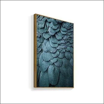 Turquoise Feather Framed Canvas Painting