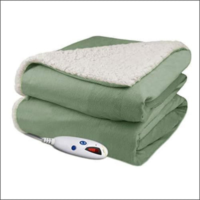Velour Sherpa Heated Throw Blanket - Electric