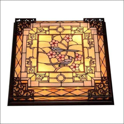 Vintage Baroque Stained Glass Ceiling Lamp