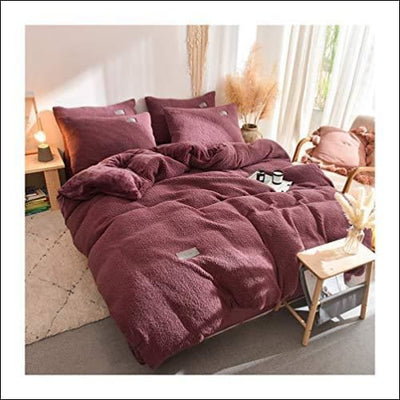 Warm Pink Lamb Cashmere 4PC Bedding Set