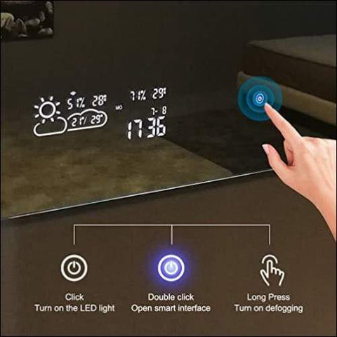 touch screen wall mirrors with weather forecast