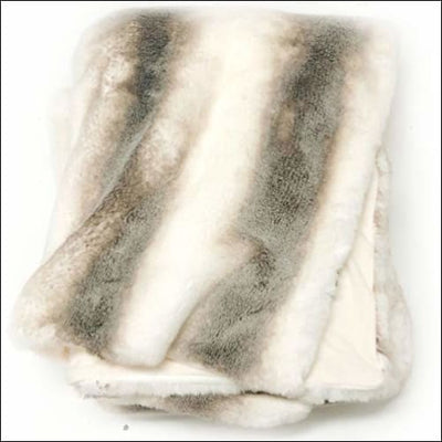 White Taupe Fox Lynx Faux Fur Throw Blanket - 50W x 70L