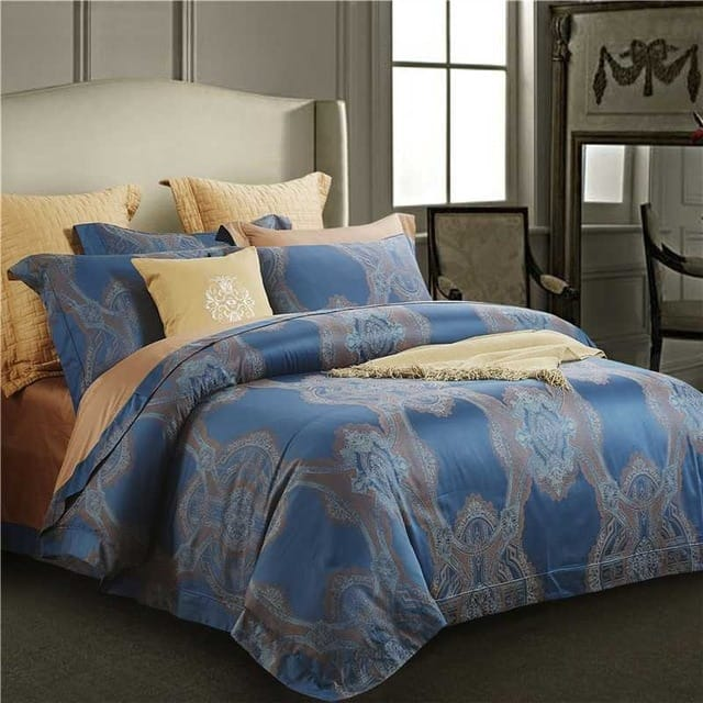 Champagne Egyptian Dyed Jacquard 4PC Bedding Set - Novarian Creations