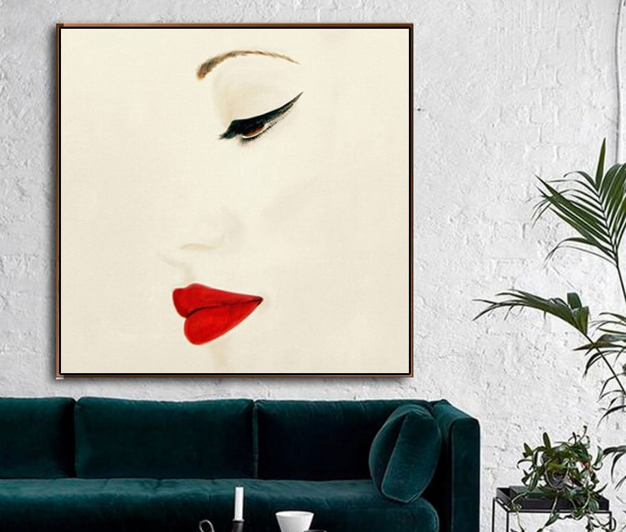 Red Lipped Woman Framed Canvas Painting - Canvas Paintings Under $1,000