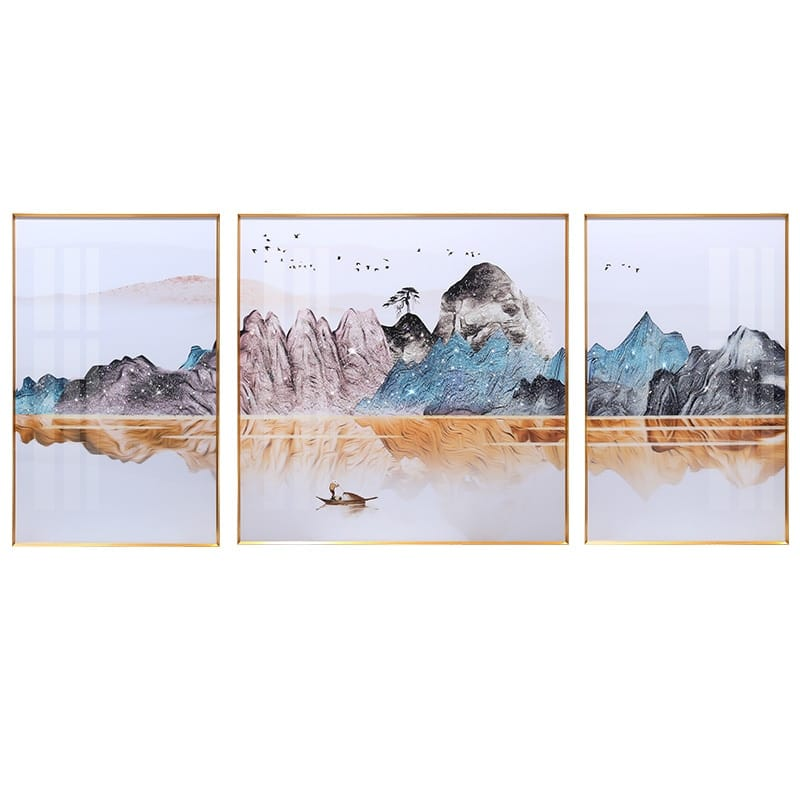''Beauty Mountain'' Metal Framed Canvas Painting - Canvas Paintings Under $10,000