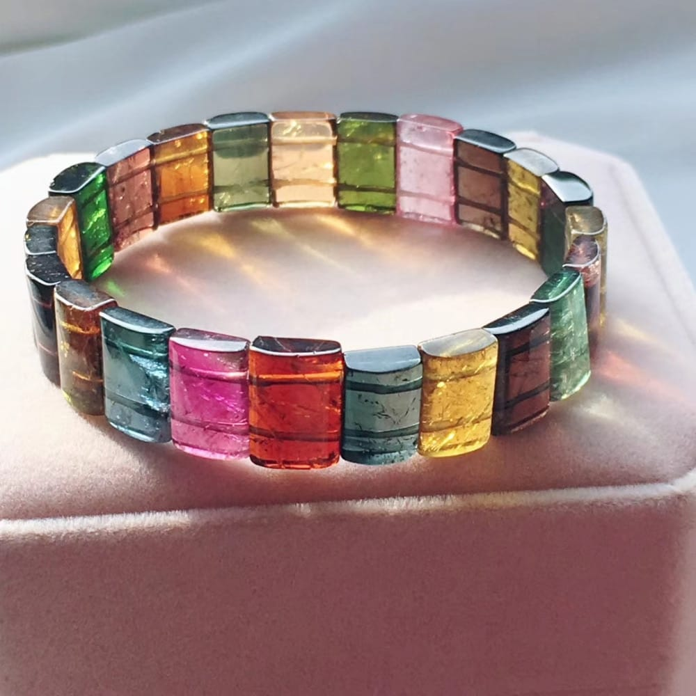 Genuine Rainbow Crystal Tourmaline Bangle Bracelet - novariancreations.com