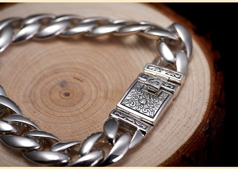 thick raw silver chain link bracelet - novariancreations.com