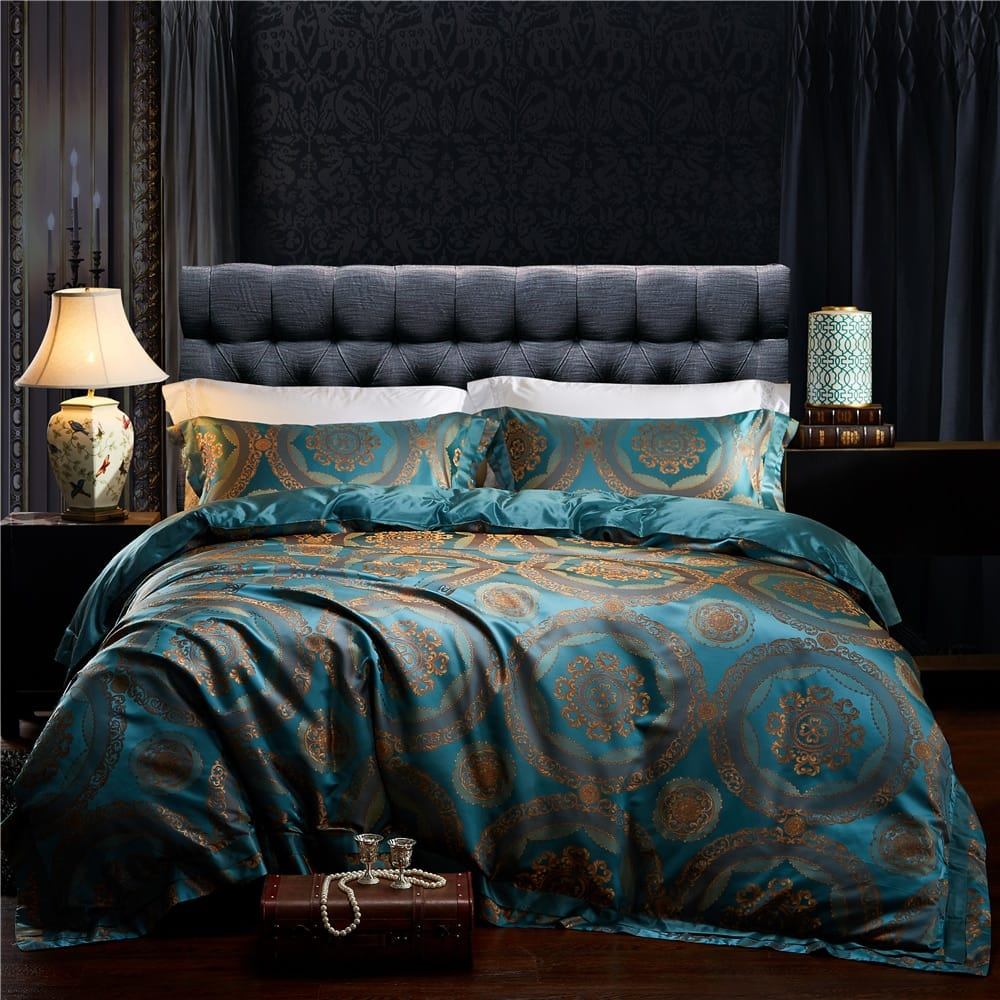Mulberry Silk Jacquard Satin King 4PC Bedding Set - Novarian Creations