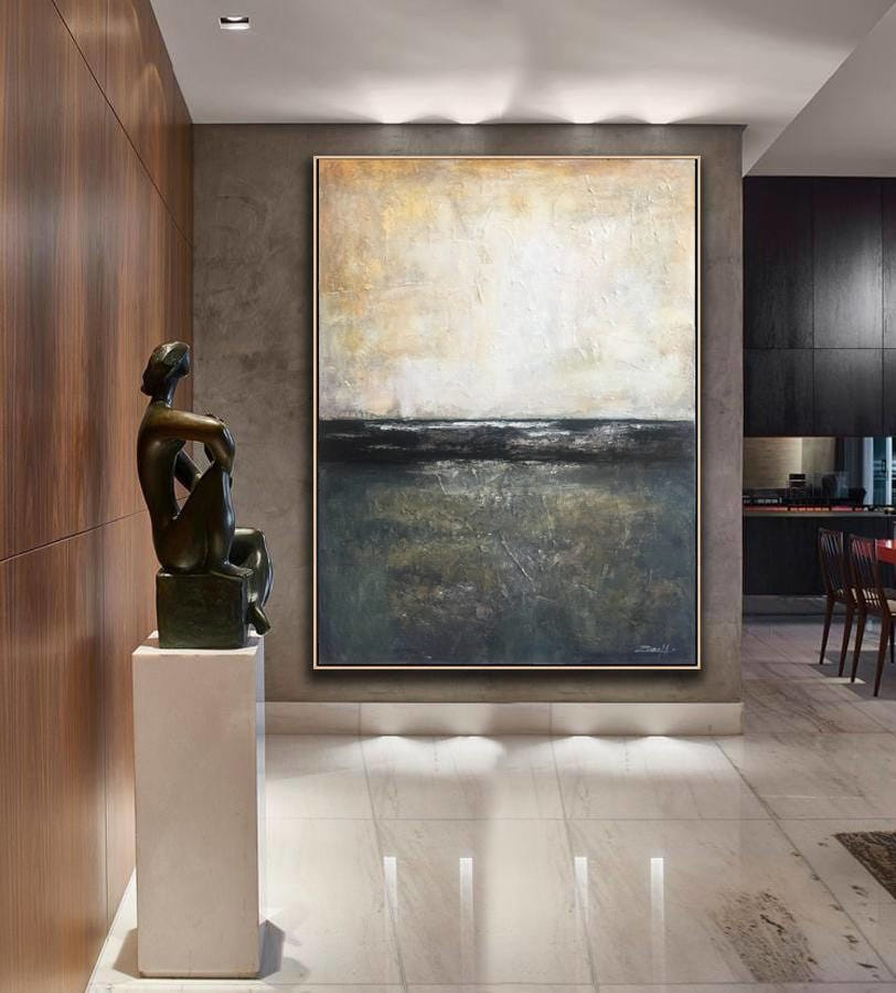 Hand-painted Abstract Framed Canvas Painting - Canvas Paintings Under $10,000