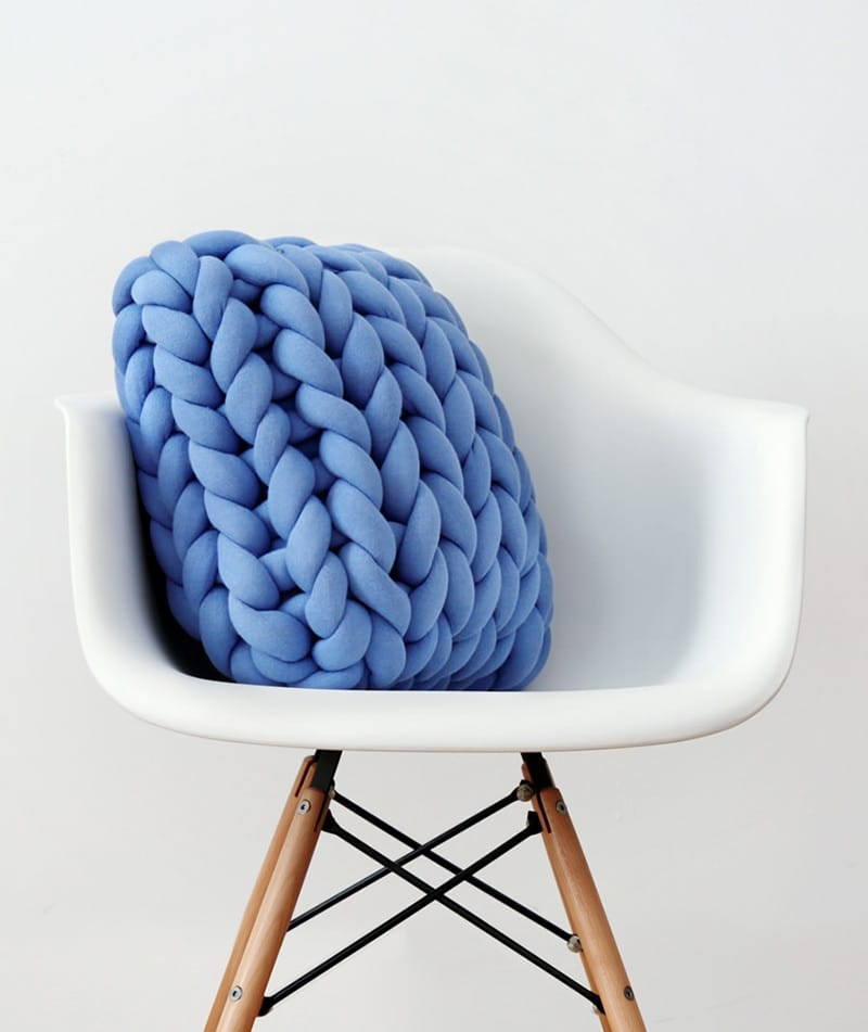braided blue throw pillow