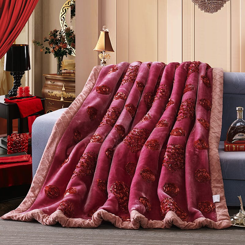 Rose Heart Embroidered Acrylic Mink Throw Blanket - Bed & Bath