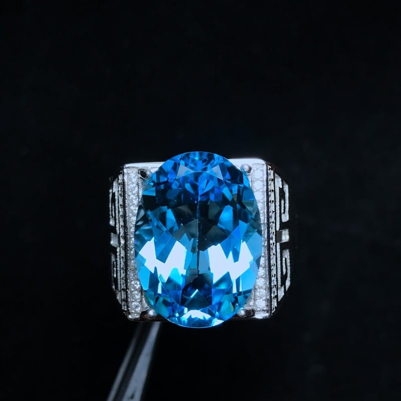 Natural Topaz Gem 10 Carat Male Ring - Gifts For Him Under $500