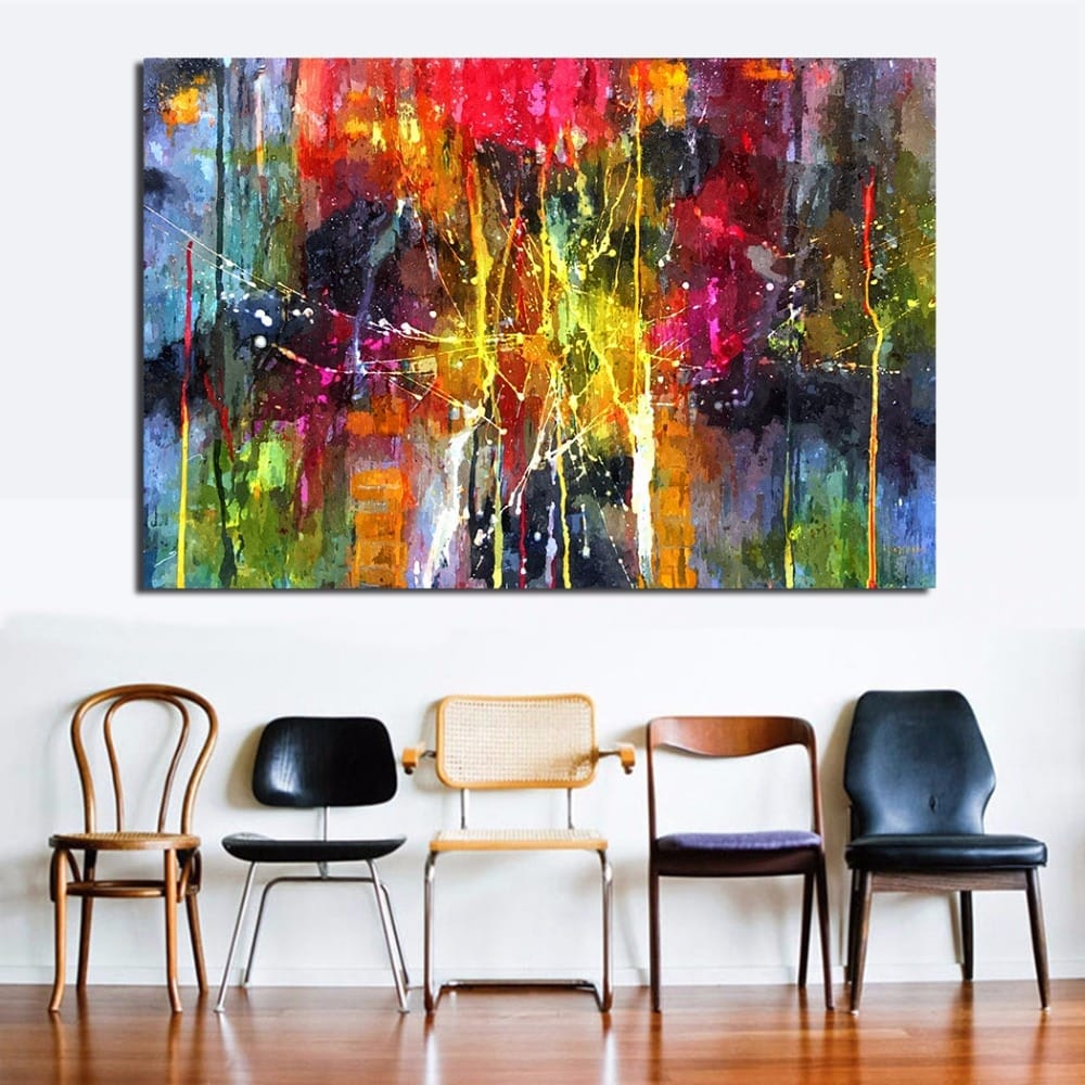 ''Modern Colors'' Framed Canvas Painting - Canvas Paintings Under $10,000