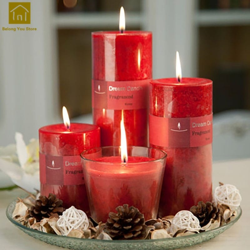Romantic Wax Pillar 4PC Scented Candle Set - Scented Candles