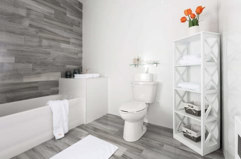 white bathroom and towels