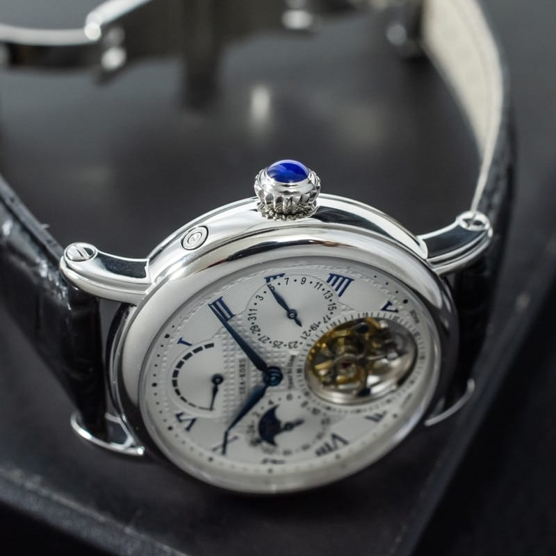 Moonphase Sapphire Crystal Alligator Leather Tourbillion Wrist Watch - novariancreations.com