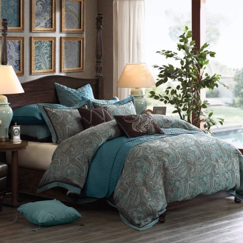 Paisley Jacquard Duvet 8PC Bedding Set - Novarian Creations