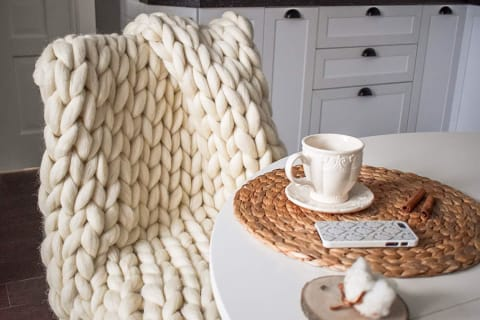 Premium Chunky Merino Wool Throw Blanket - Bed & Bath