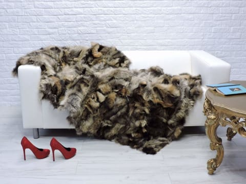Italian Fox Fur Luxury Throw Blanket - Bed & Bath