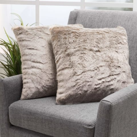 Set of 2 Ellison Faux Fur Throw Pillow - Bed & Bath