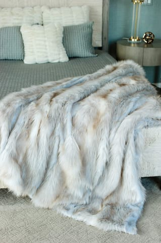 Siberian Fox Fur Throw Blanket - Bed & Bath