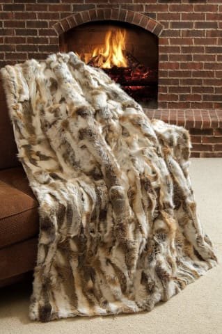 Snow Queen Rabbit Fur Throw Blanket - Bed & Bath