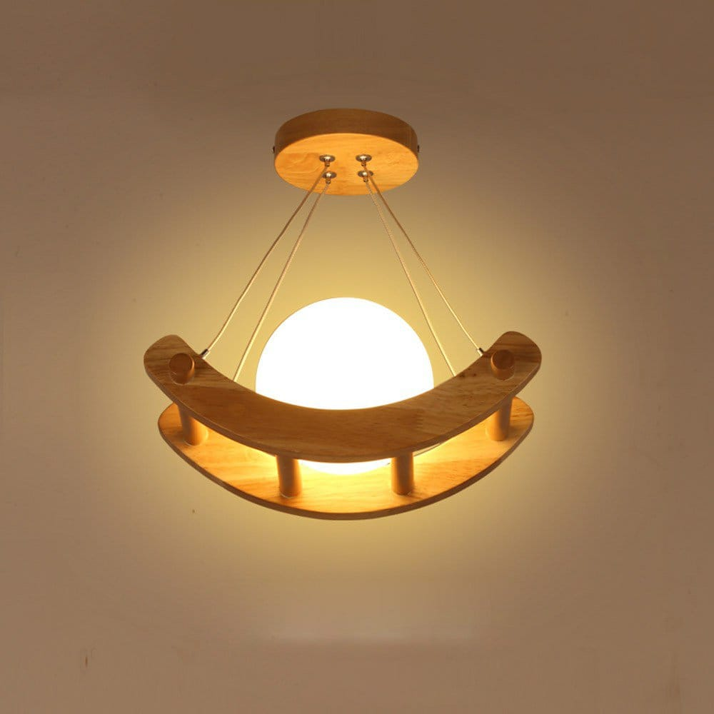 Kid's Wooden Boat Ceiling 3D Moon Lamp - Lamps & Lighting
