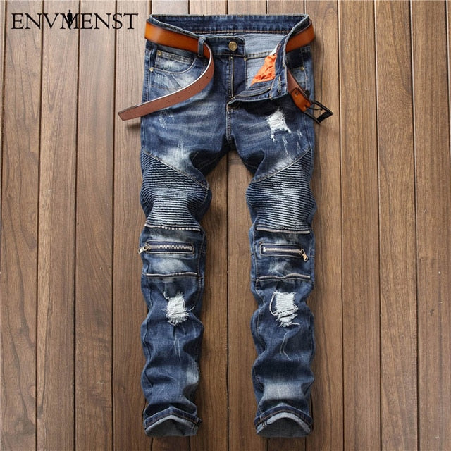Biker Jeans with Knee Zips