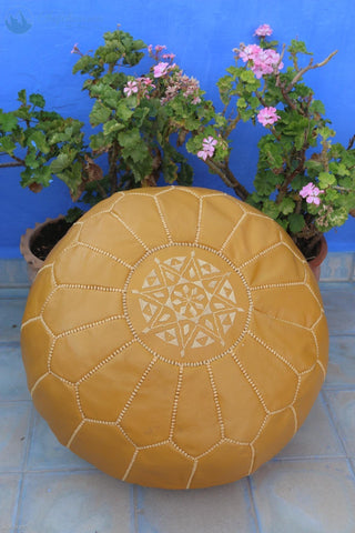 Moroccan Ottoman Pouf Marrakesh Poufs Mutard Chefchaouen Handcrafted Leather