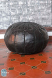 Raven Leather Pouf