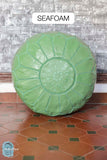 Seafoam Leather Pouf