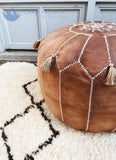 The Blue Pearl Shop Premium Handcrafted Habibi Leather Pouf