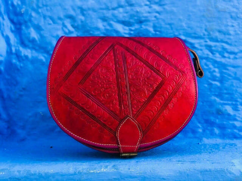 Red Leather Handbag - The Blue Pearl Chefchaouen Shop