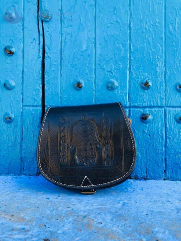 Black Leather Handbag - The Blue Pearl Chefchaouen Shop