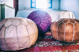 Moroccan Ottoman Pouf Marrakesh Poufs PINK Chefchaouen Handcrafted Leather