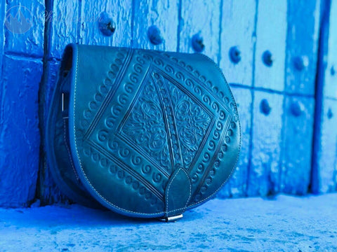 Blue Leather Handbag - The Blue Pearl Chefchaouen Shop