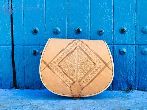Caramel Leather Handbag - The Blue Pearl Chefchaouen Shop