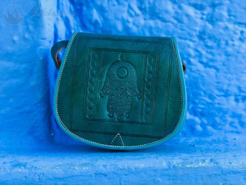 Green Pearl  Leather Handbag - The Blue Pearl Chefchaouen Shop