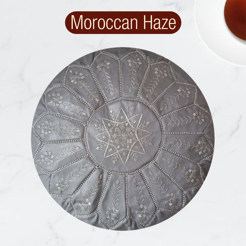 The Blue Pearl Shop Premium Handcrafted Moroccan Haze Leather Pouf